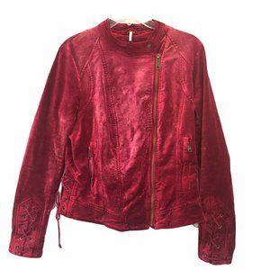 Free People Lacey Burgundy Velvet Lace Up Jacket